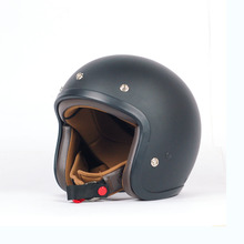 AGYO SS Black FLAT - DARK BROWN Padding Open Face Motorcycle Helmet