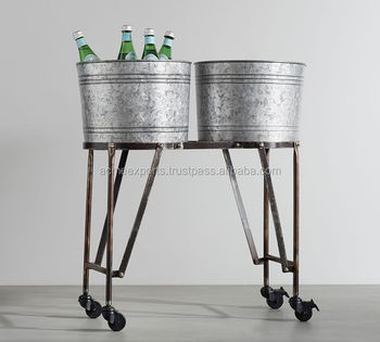 Galvanized Iron Double Beverage Tub With Stand | Beverage Tub Beer Tub