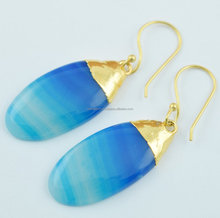Natural Blue Banded Agate Cabochon Pear Shape 24k Gold Plated Gemstone Earring