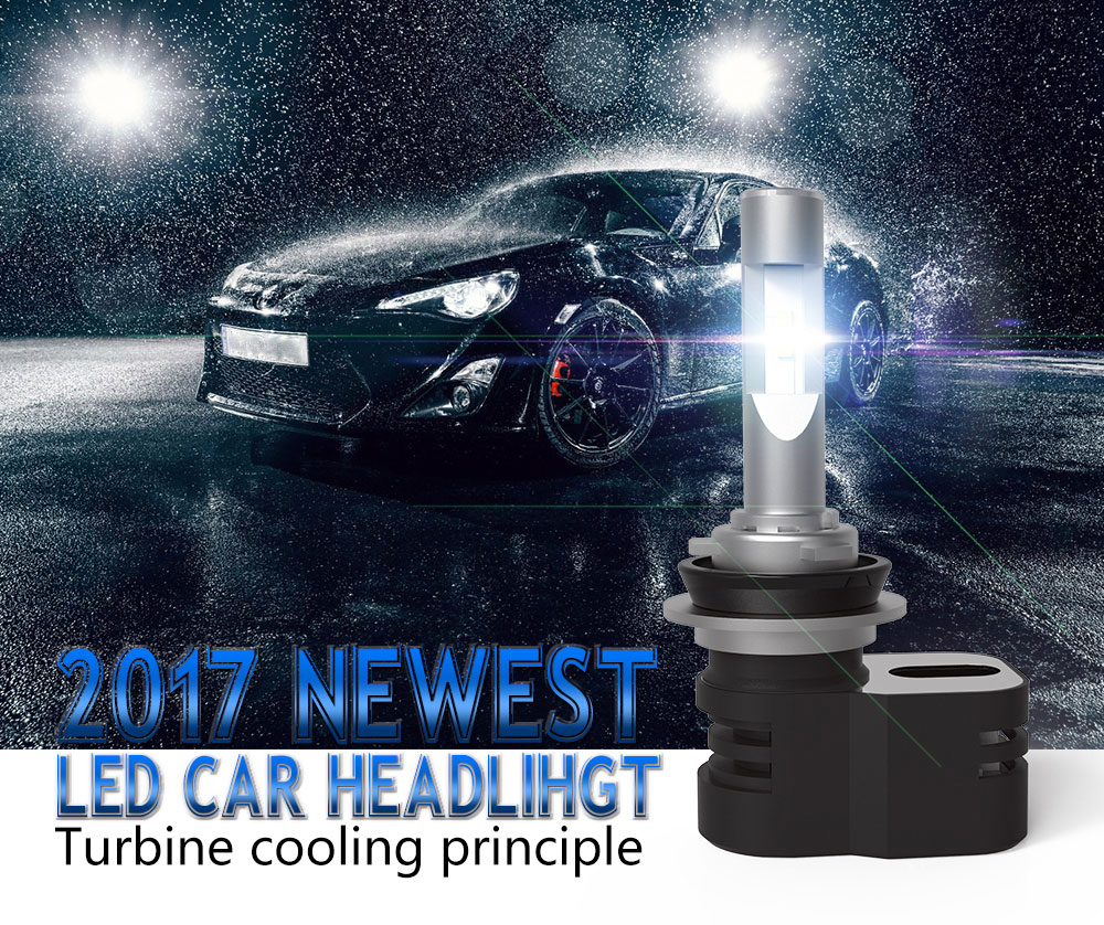 High Power T5 Car LED Headlight Bulbs Kit 4200 Lumen CSP 6000K H4 H8 H9 H11 Waterproof