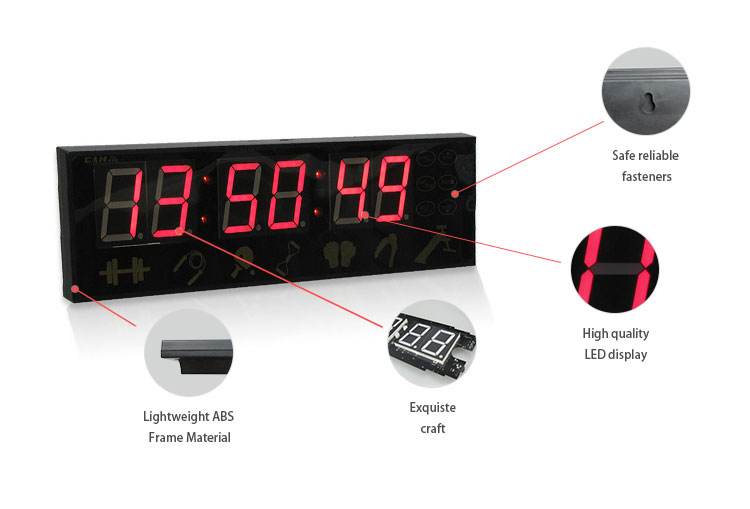 "Mini Crossfit Rouge Led Fitness Digital Timer USB Charger Training clocks 6-digit 1.5"" red LED ultra-bright light tube display"