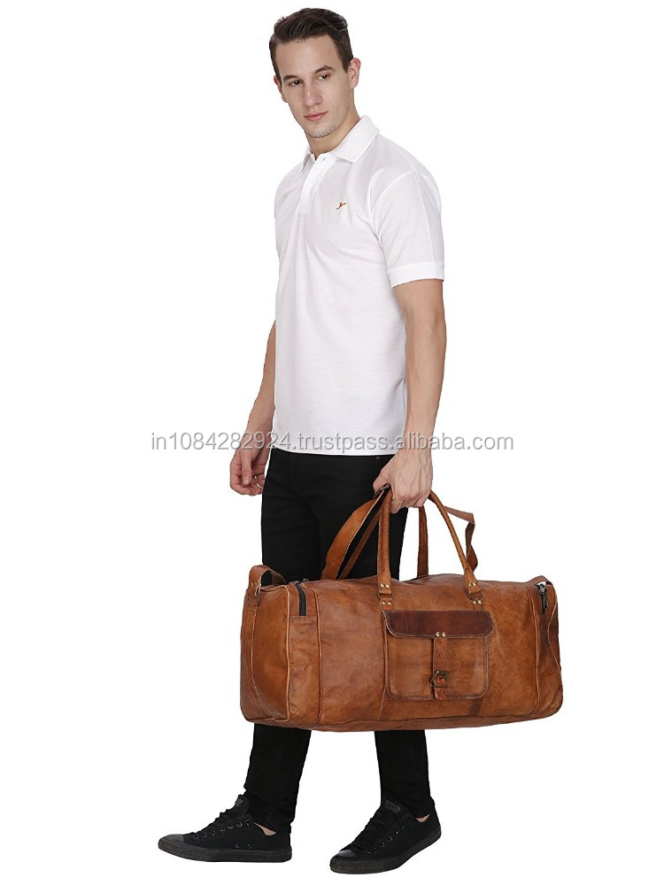 Leather 20 Inch Square Duffel Travel Gym Sports Overnight Weekend Leather Bag