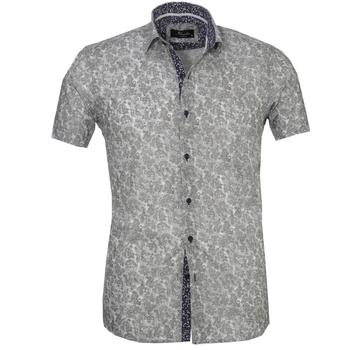 Gray Paisley Short Sleeve High Quality  Dress Shirt