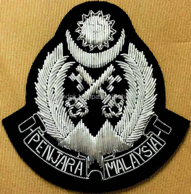 Penjara Malaysia Hand Embroidery Embroidered Silver Bullion Wire Blazer Badges
