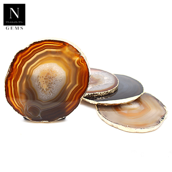 Rocks geode slices healing crystals tableware home decor decoration irregular glass orange agate coasters