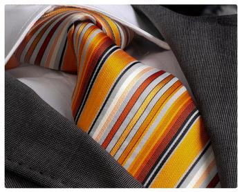Orange Tones Striped Necktie, neck tie, tie, silk necktie, necktie label, corbata, krawatte, Schlips