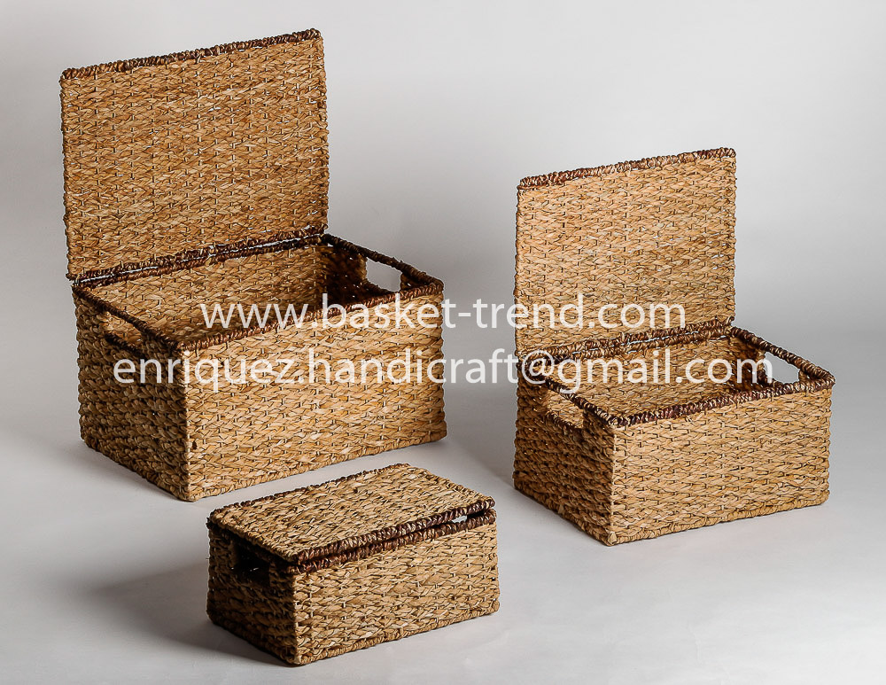 Set of 3 Chests with Cover made from natural Bancuan and Bacbac fibers