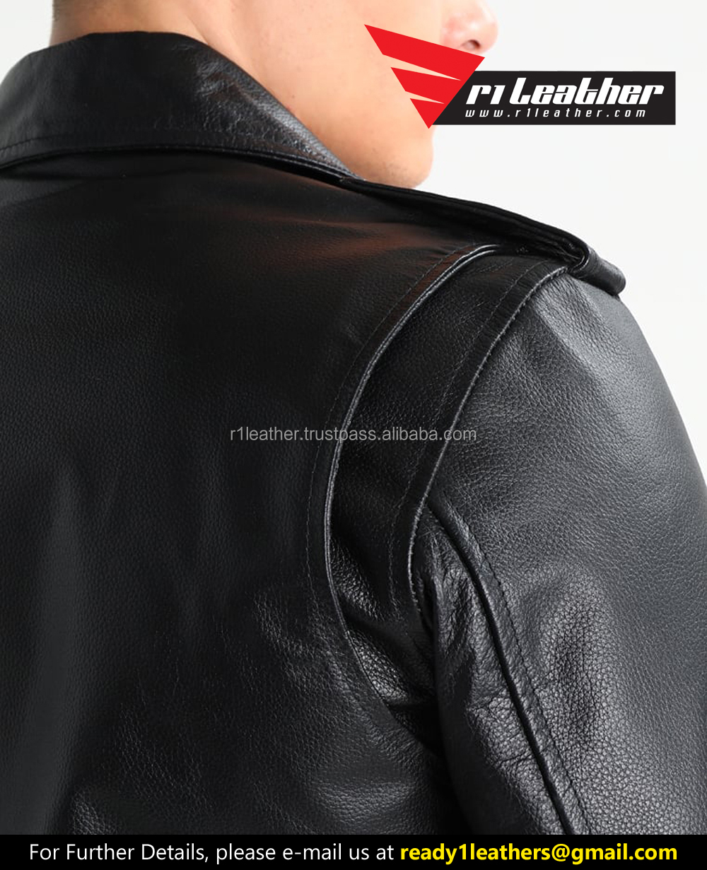 Custom designed zipper motorcycle boys genuine leather jackets-Leather jackets for men