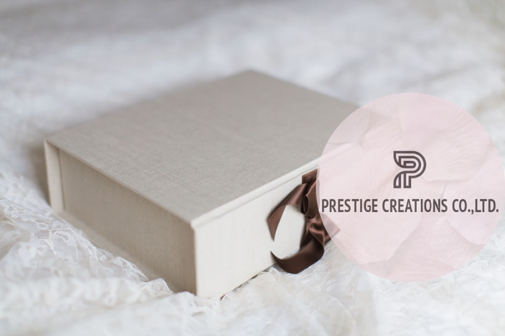 Thailand's Handmade Gold Foil Logo Stamped Linen Boxes
