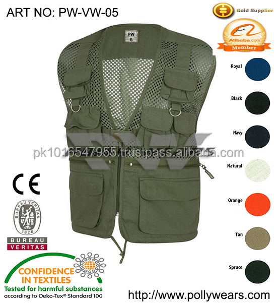 2016 Summer New Multi-pocket Demin Vest Photographer Hiking Vest Outdoor hunting vest