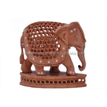 Indian hand made wooden undercut inlay elephant base for home and office decor gift item