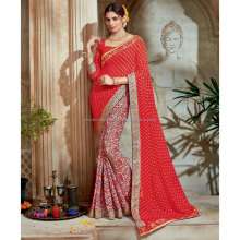 Red Color Georgette Saree / Party Wear Sarees Wholesale / Shopping for Sarees Online