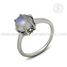 Exquisite rainbow moonstone gemstone ring 925 sterling jewelry wholesaler silver ring supplier