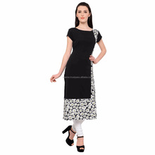 2017 New Design Black Fancy Long Crepe Women Kurti