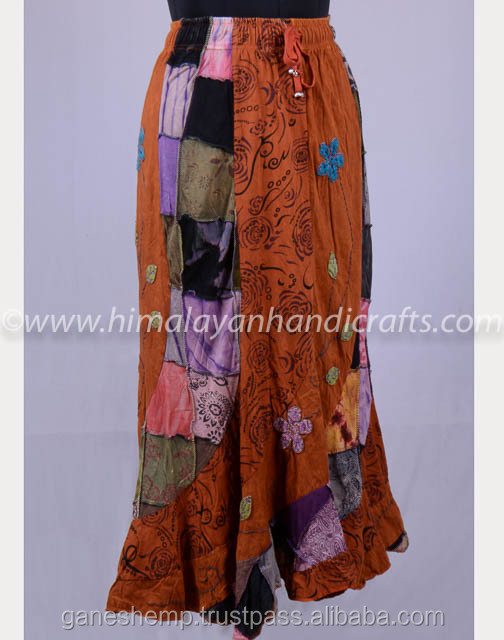 Vintage Patchwork Colorful Boho Maxi Skirt HHCH 127 A