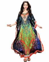 2017 Multi Colour Satin Silk Party Wear Kaftan / Printed Free Size caftan 2017 / Straight Floor Length Kurta (kaftan dress)