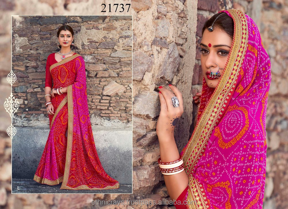 Pink & Red Colored Georgette Saree Material