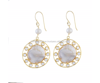 SILVER 925 EARRING WITH PEARL AND GOLD POLISH