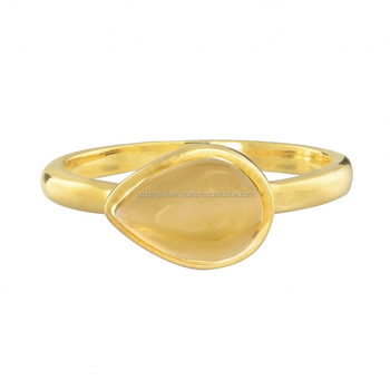 Stylish Bech Wear! Citrine Designer Ring in 18K gold plated ring