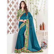 Marine Blue Color Georgette Saree / Wholesale Sarees Online / Online Shopping Sarees For Women
