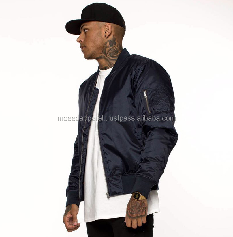 Smooth Nylon Outer Black Bomber Jacket Padded with Black Quilted Satin lining