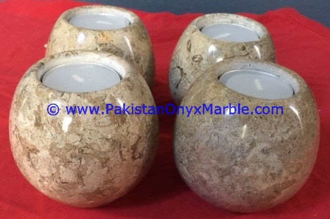 DECORATIVE MARBLE CANDLE HOLDERS SPHERE BALL SHAPED STANDS
