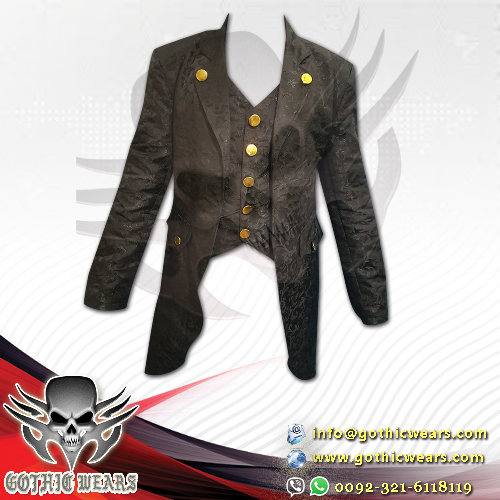 Gothic Men,s Black Brocade Tailcoat / Gothic men,s Long Coat / Gothic Steampunk