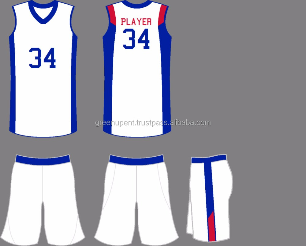 White and blue Custom Color contrast sports wear jersey Basket ball uniform