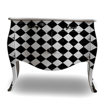 Home Furniture - Wooden Living Room Cabinet Furniture Checkered Color French Style