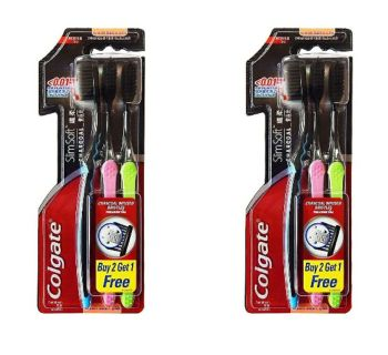 HOT SALE Colgate Slim Soft Charcoal Toothbrush (Pack of 3) 17x Slimmer Soft Tip Bristles