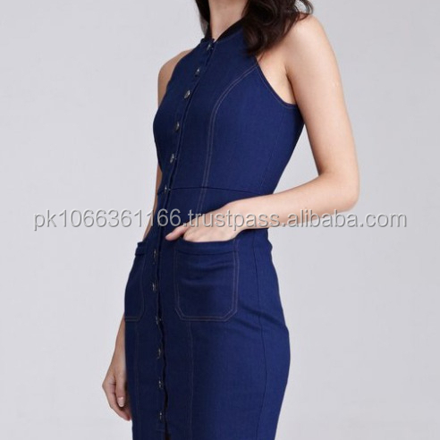 Sleeveless Denim Body con Sleeveless Dress for women with halter neck and fully customized