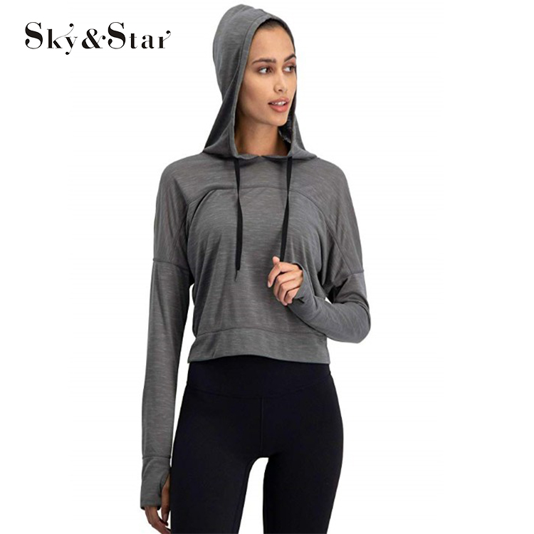 Women Long Sleeve Crop Top Hoodie Workout Pullover women Top with Thumb <strong>Holes</strong>