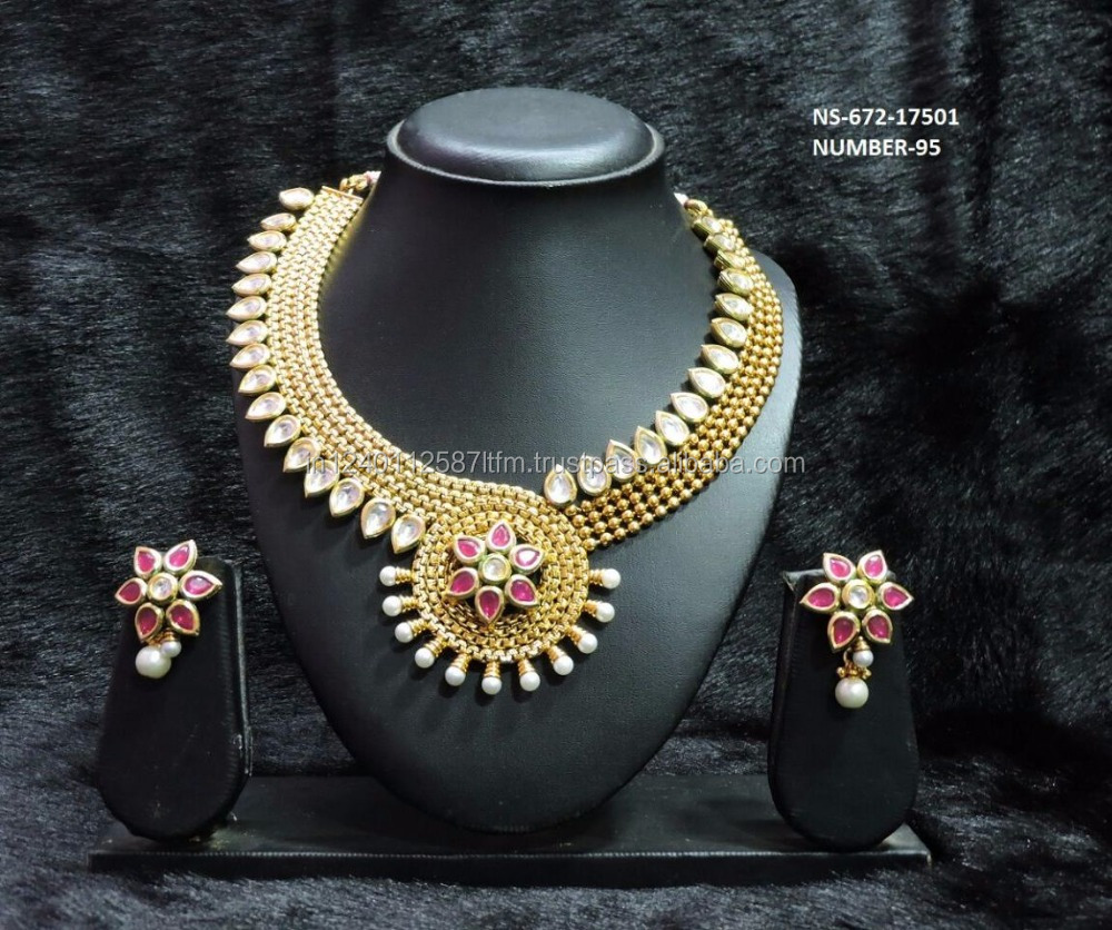 Traditional Bollywood South |ndian Style 18k Gold Plated Floral Necklace With Kundan Pearls Pink Stone Wedding Bridal Jewelry