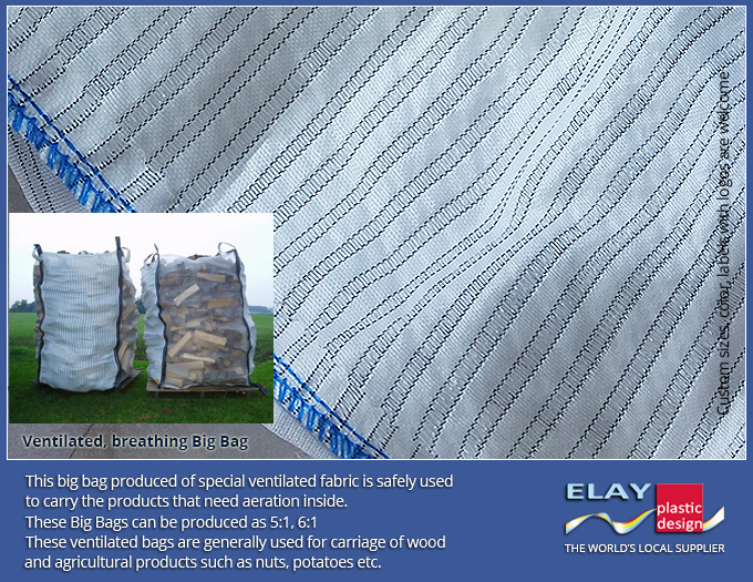 Firewood drying and trasporting big bags, wholesale breathable/ventilated jumbo big bags