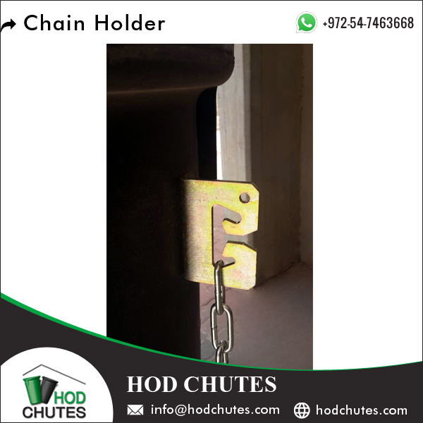 Metal Chain Holder to Attach Sleeves of Garbage Chute Sysytem