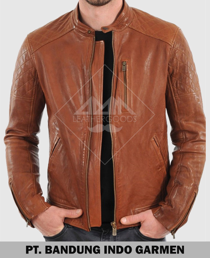 Men Genuine Lambskin Sport Biker Leather Jacket