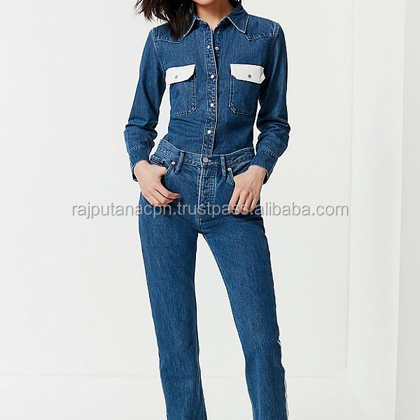 2018 Fashion Women Jumpsuit Denim Female Blue Casual Jeans Jumpsuits For Lady jacket
