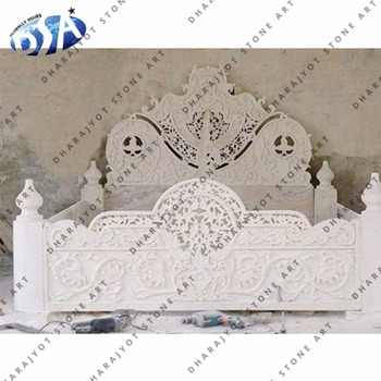 makrana white marble hand carved antique bed for house