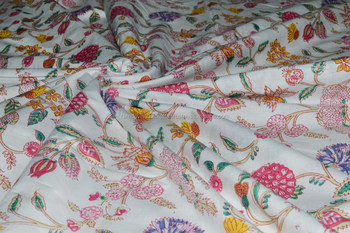White floral print Indian cotton fabric 100% handmade hand printed fabric light weight latest 2017 fabric