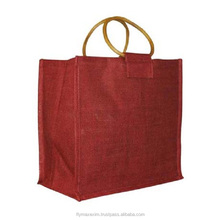PP Laminated Jute Three Bottle Wine Bag with Wooden Can Handle