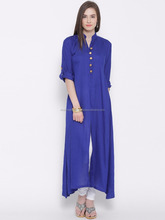 Plain long gown style straight rayon 140gsm kurta with golden button