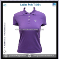 Purple color Ladies Short Sleeve Polo T shirts with Buttons
