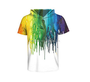Wholesale Casual Short Sleeve fit sublimation printed t shirt with hoodies