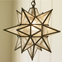 hanging metal star glass lantern