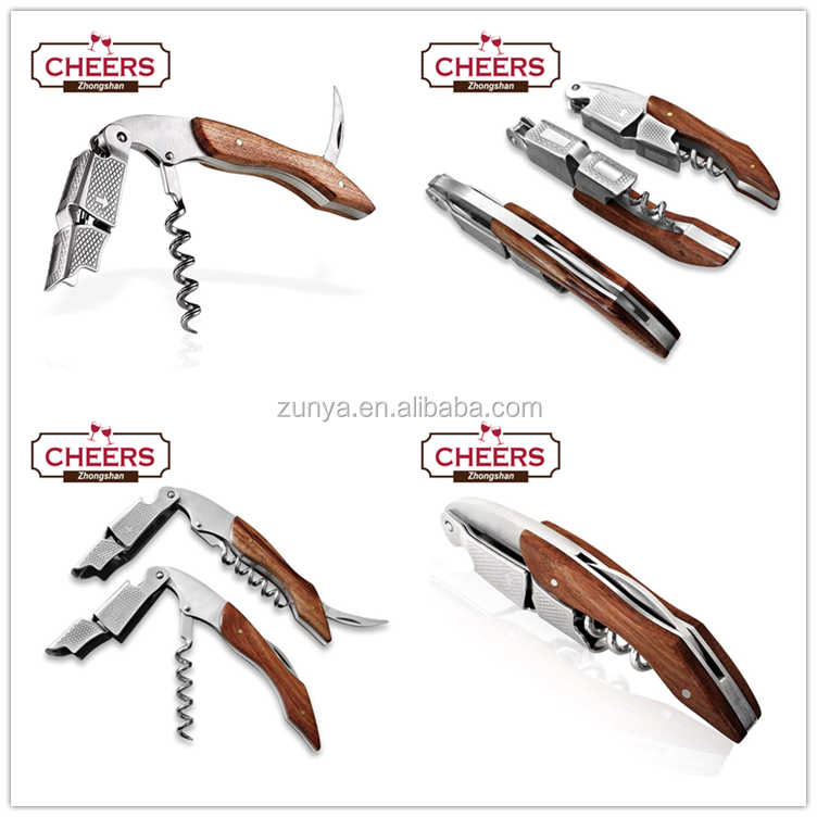 Professional All-in-one Stainless Steel Waiters Corkscrew with Rosewood,  Beer Bottle Opener and Wine Key Foil Cutter