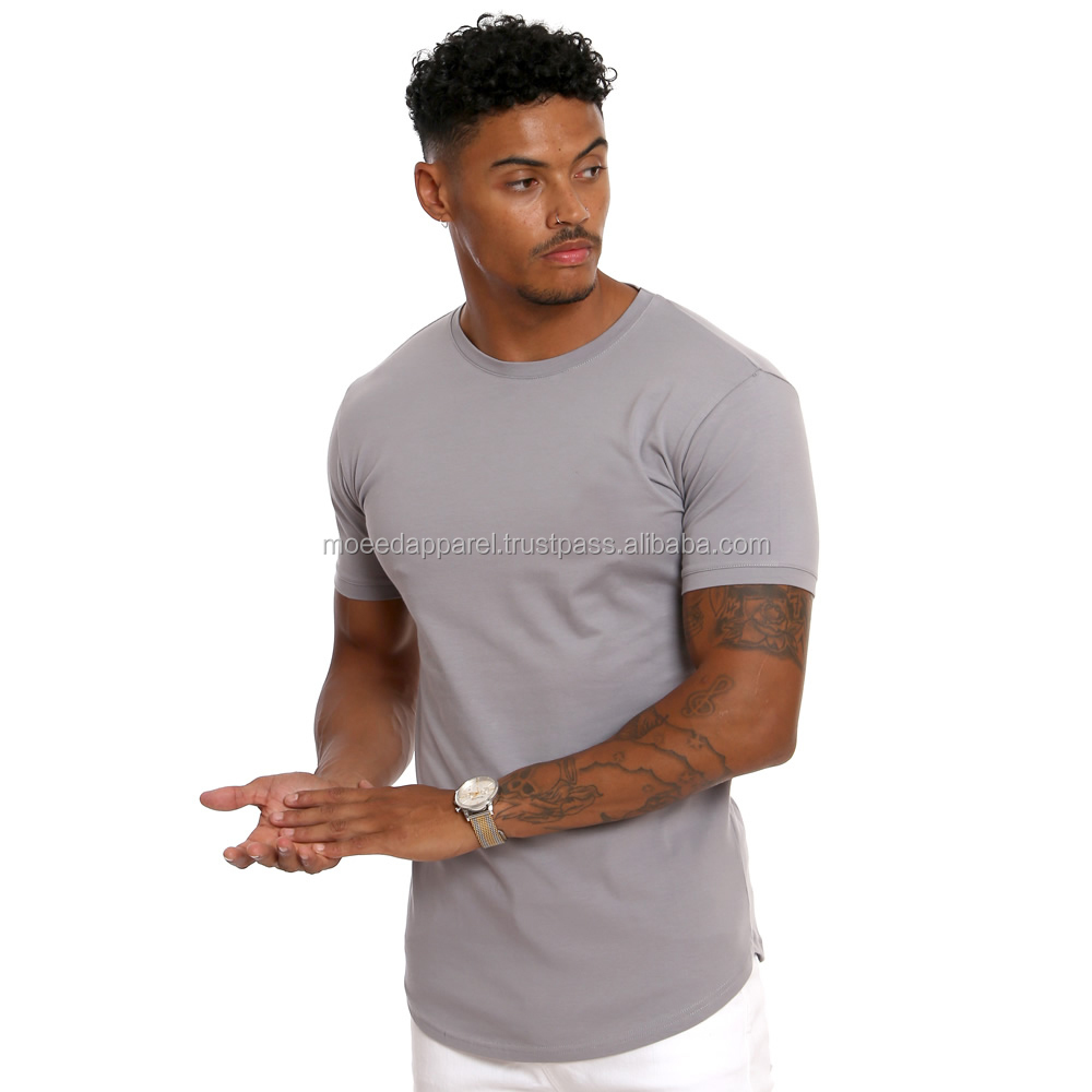 95% Cotton 5% Elastane Mens Long Sleeve Fitted T-Shirt Elongated Gym T Shirt Longline Curved Hem T
