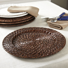Cheap rattan charger plates wedding restaurant plates/ hotel used dinner plates