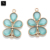 Aqua chalcedony bezel component gold plated double bail flower shape filigree chandelier findings for jewelry making