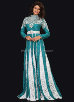 Teal Designer Georgette Kaftans At Wholesale Price / Kaftans In China Dubai Islamic Clothing Moroccan Kaftan 2017