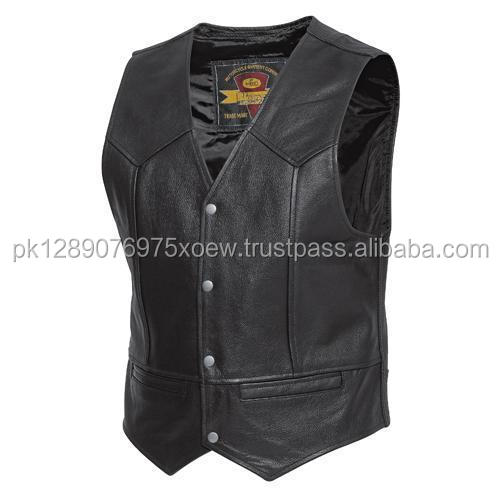 Bullet Proof style Leather Motorcycle Vest